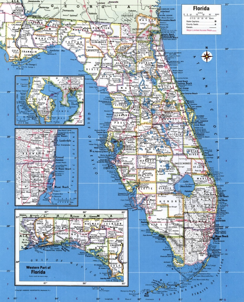 Large Detailed Administrative Map Of Florida State With Major Cities - Large Detailed Map Of Florida