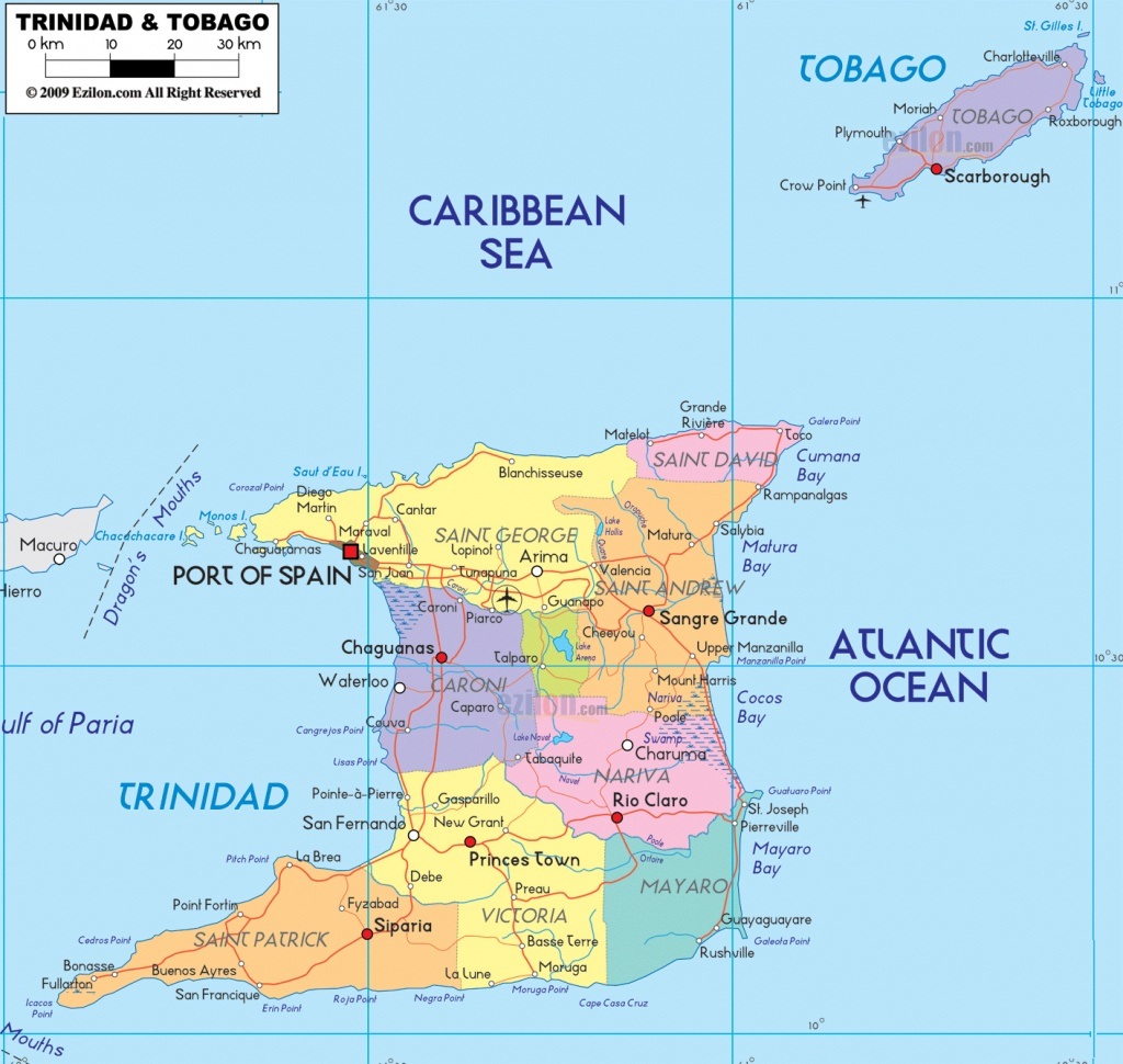Large Detailed Administrative Map Of Trinidad And Tobago With Cities - Printable Map Of Trinidad And Tobago