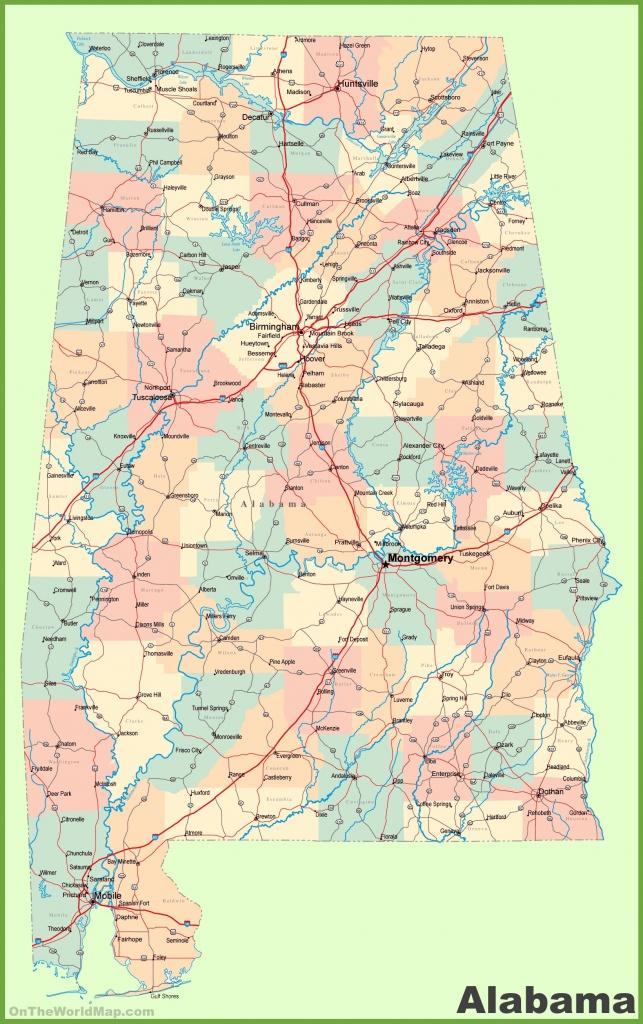 Large Detailed Map Of Alabama - Printable Alabama Road Map
