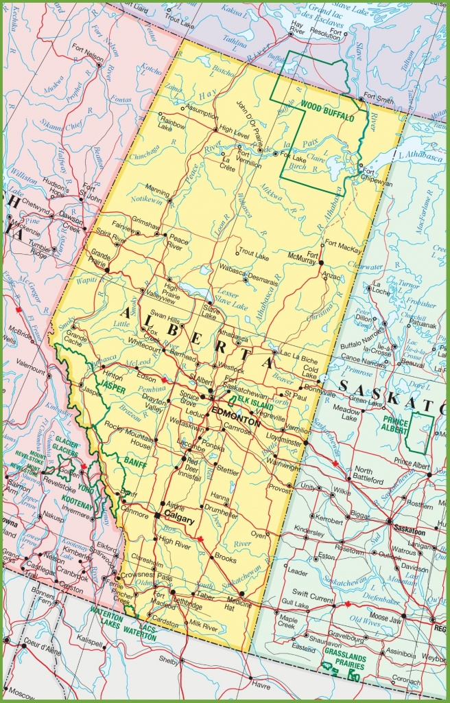 Large Detailed Map Of Alberta With Cities And Towns - Free Printable Map Of Alberta