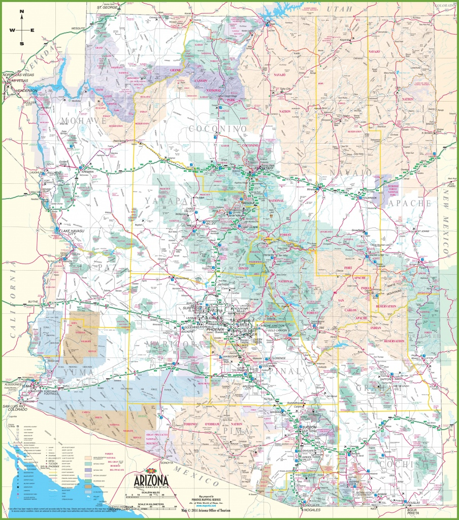Large Detailed Map Of Arizona With Cities And Towns - Free Printable Map Of Arizona