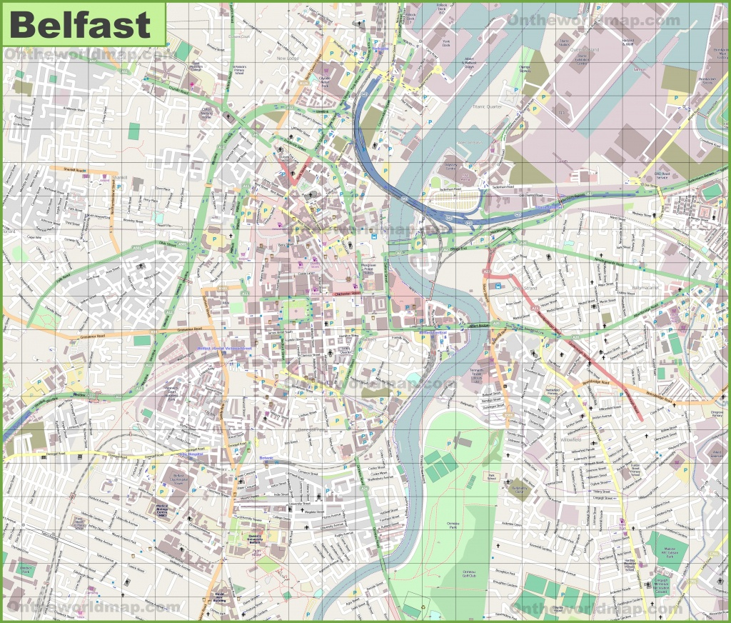 Large Detailed Map Of Belfast - Belfast City Centre Map Printable