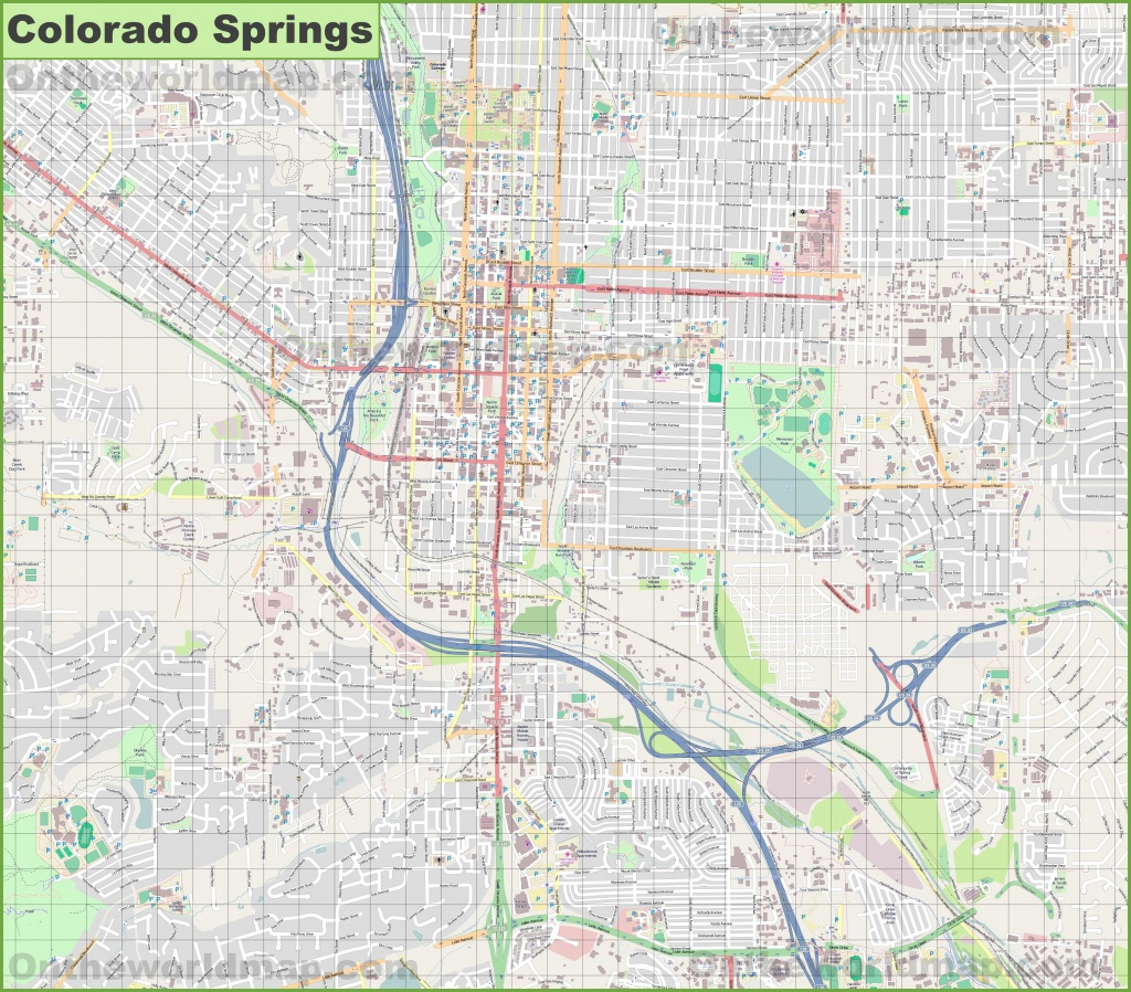 Large Detailed Map Of Colorado Springs - Printable Map Of Colorado Springs