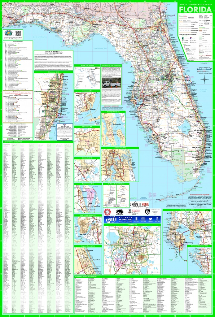 Large Detailed Map Of Florida With Cities And Towns - Florida Wall Maps For Sale