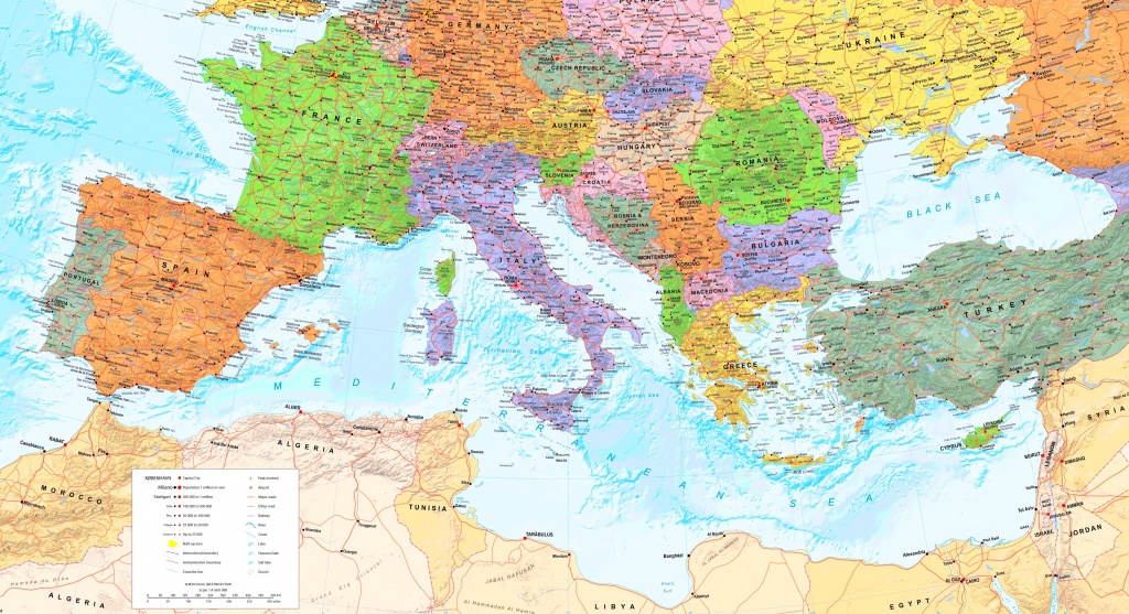 Large Detailed Map Of Mediterranean Sea With Cities - Mediterranean Map Printable