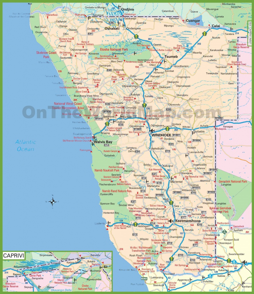 Large Detailed Map Of Namibia - Printable Road Map Of Namibia