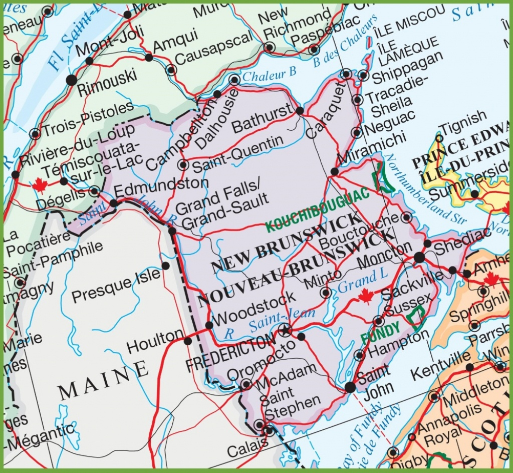 Large Detailed Map Of New Brunswick - Printable Map Of New Brunswick