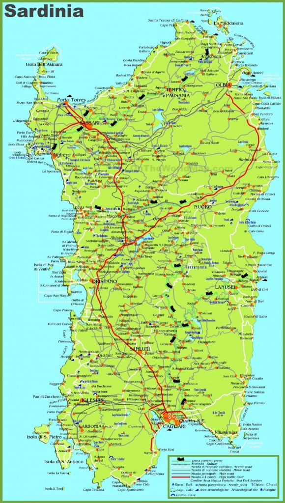 Large Detailed Map Of Sardinia With Cities, Towns And Roads - Printable Map Of Sardinia