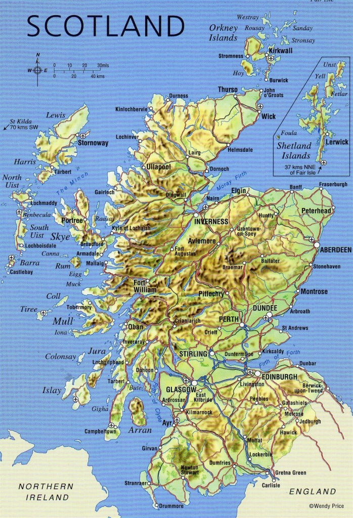 Large Detailed Map Of Scotland With Relief, Roads, Major Cities And - Printable Road Map Of Scotland