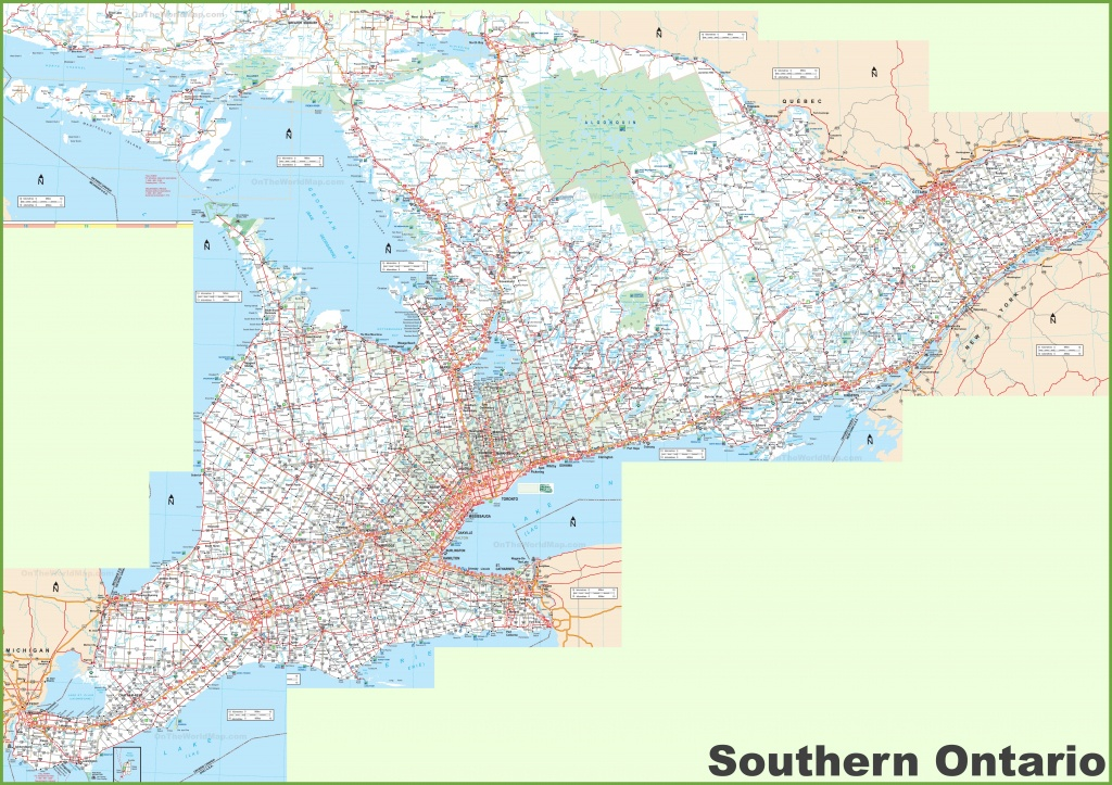 Large Detailed Map Of Southern Ontario - Printable Map Of Ontario