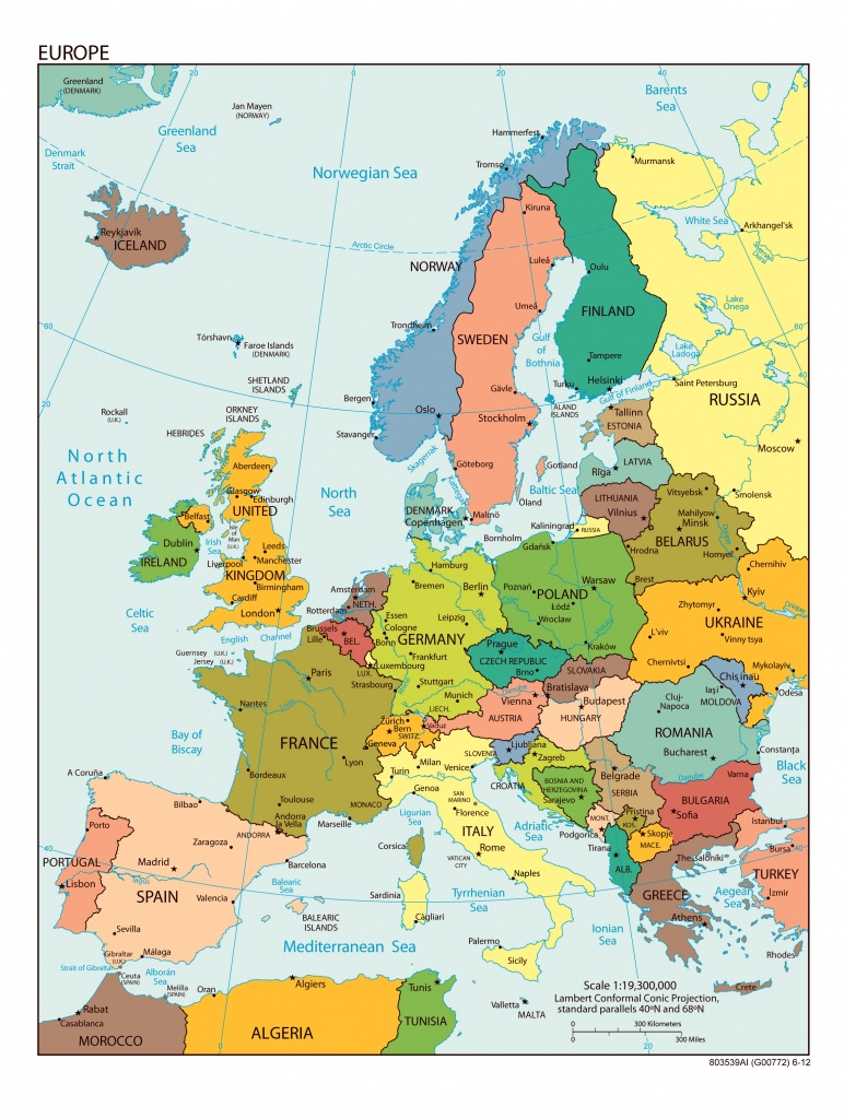 Large Detailed Political Map Of Europe With All Capitals And Major - Printable Map Of Europe With Capitals