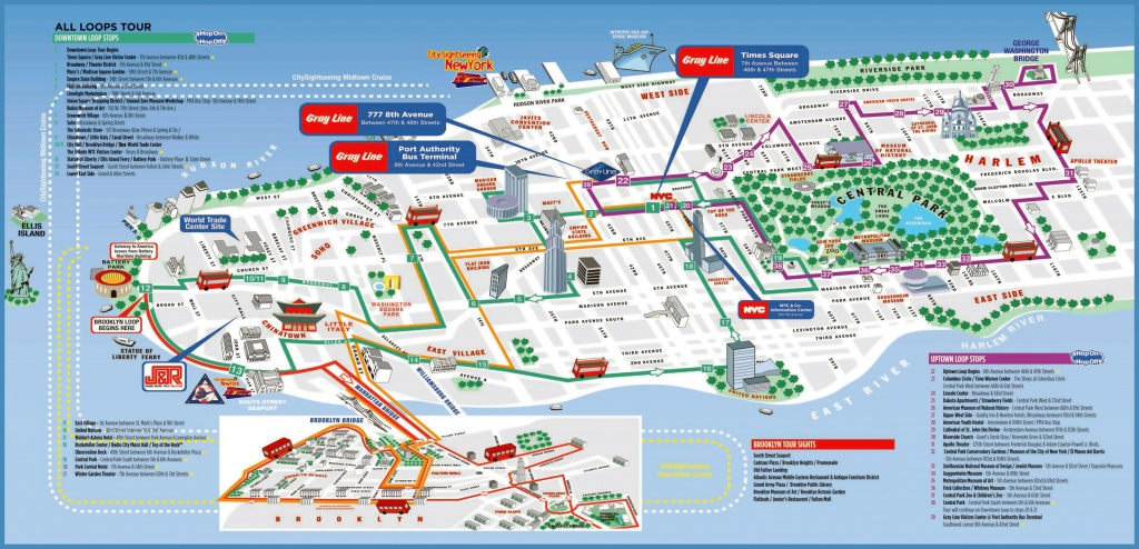 Large Detailed Printable Tourist Attractions Map Of Manhattan, New - Printable Map Of New York City