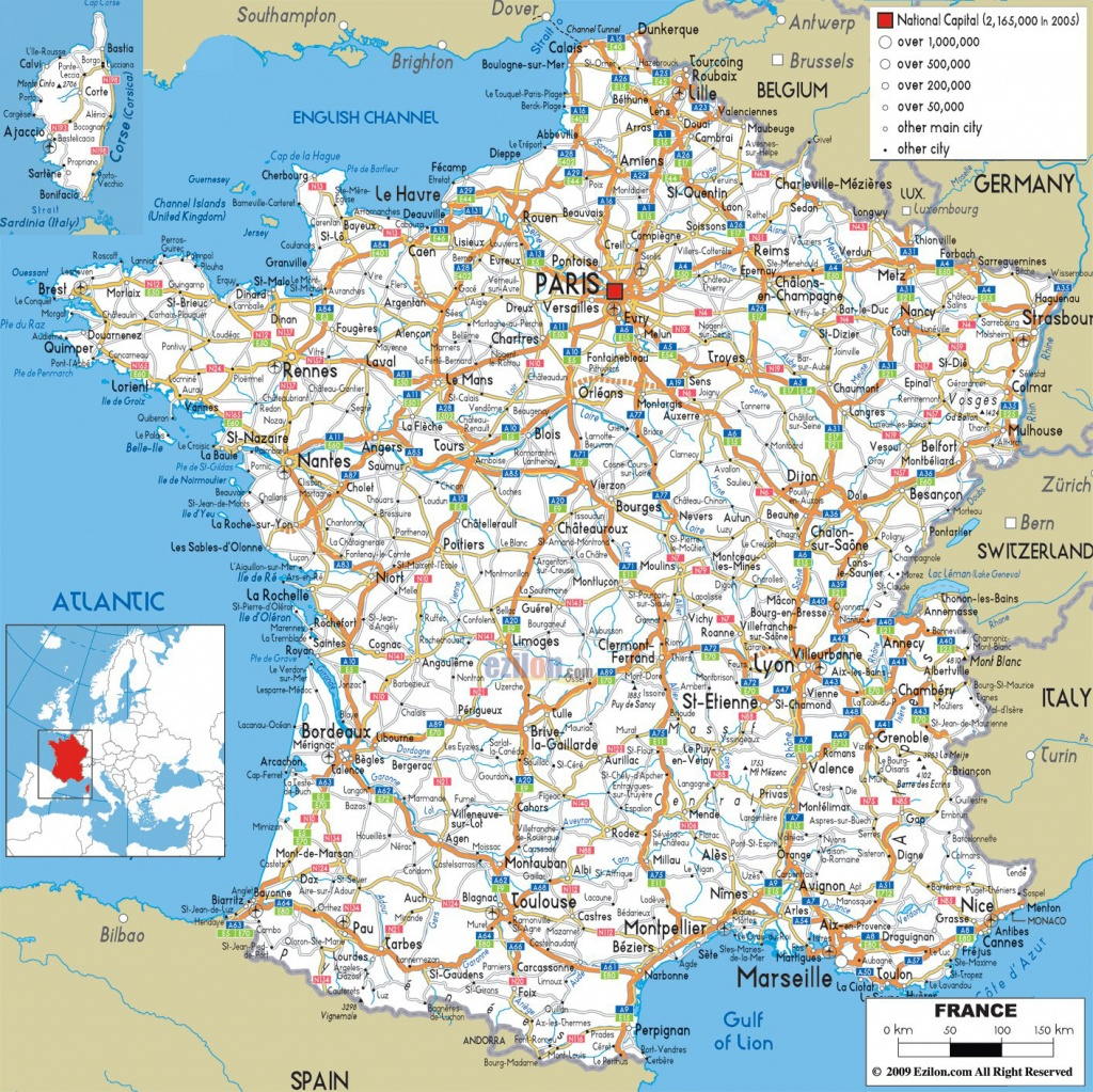 Large Detailed Road Map Of France With All Cities And Airports - Printable Map Of France Regions
