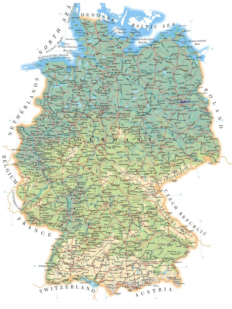 Large Detailed Road Map Of Germany With All Cities, Villages And - Large Printable Map Of Germany