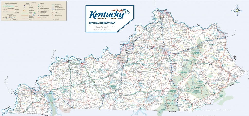 Large Detailed Road Map Of Kentucky - Printable Map Of Kentucky