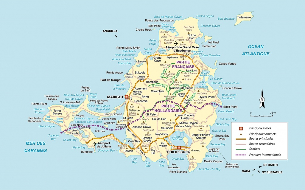 Large Detailed Road Map Of Saint Martin Island. St. Maarten Island - Printable Road Map Of St Maarten