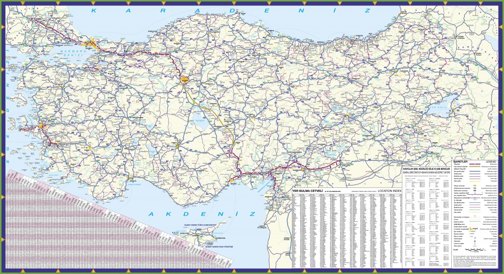 Large Detailed Road Map Of Turkey - Printable Map Of Turkey