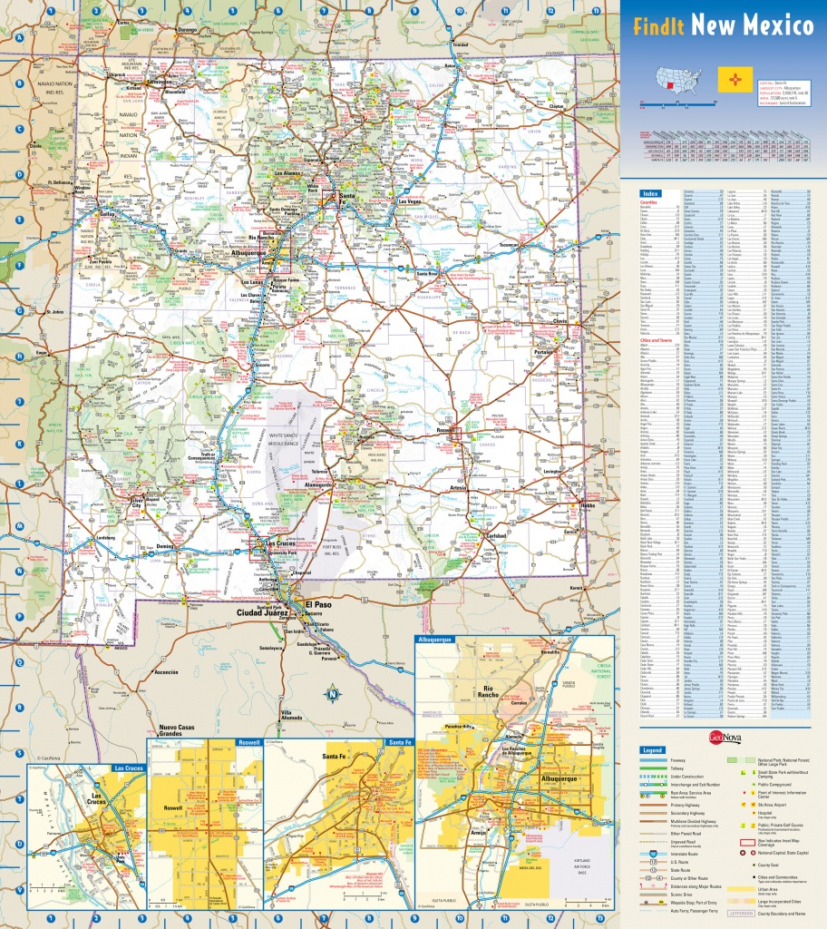 Large Detailed Roads And Highways Map Of New Mexico State With - Printable Map Of New Mexico