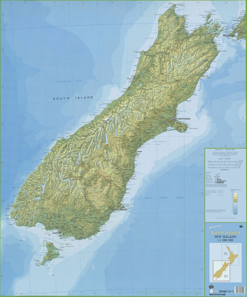 Large Detailed South Island New Zealand Map - New Zealand South Island Map Printable