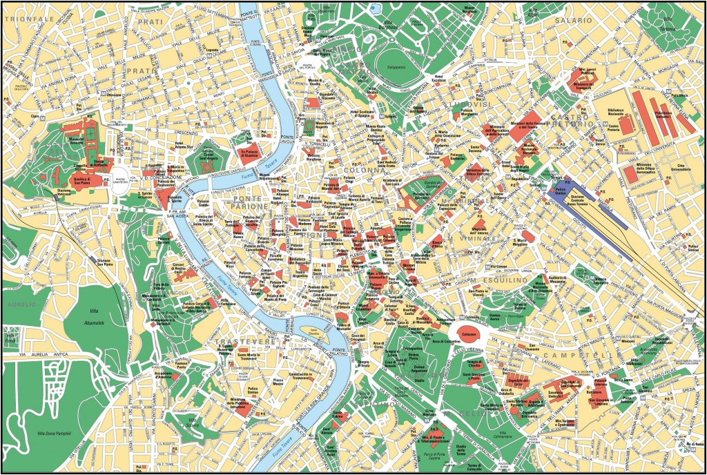 Large Detailed Street Map Of Rome City Center. Rome City Center - Street Map Of Rome Italy Printable