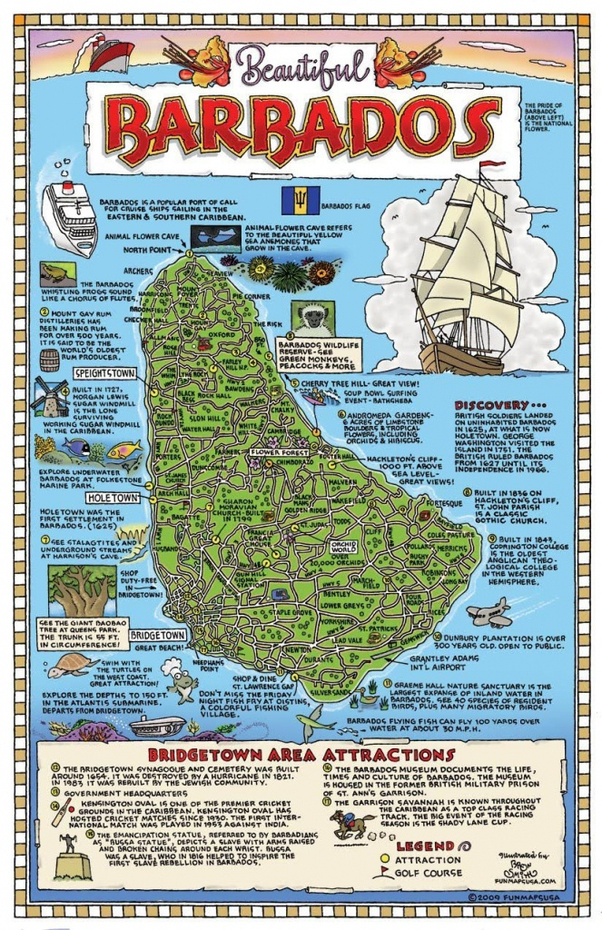 Large Detailed Tourist Map Of Barbados. Barbados Large Detailed - Printable Map Of Barbados