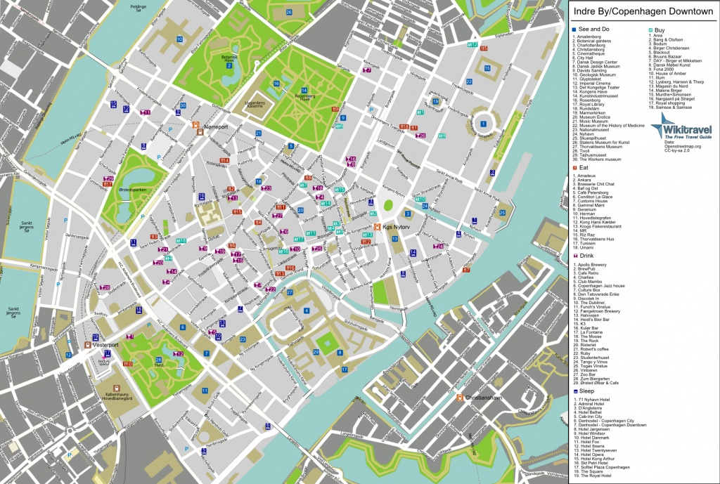Large Detailed Tourist Map Of Copenhagen City Center. Copenhagen - Printable Map Of Copenhagen