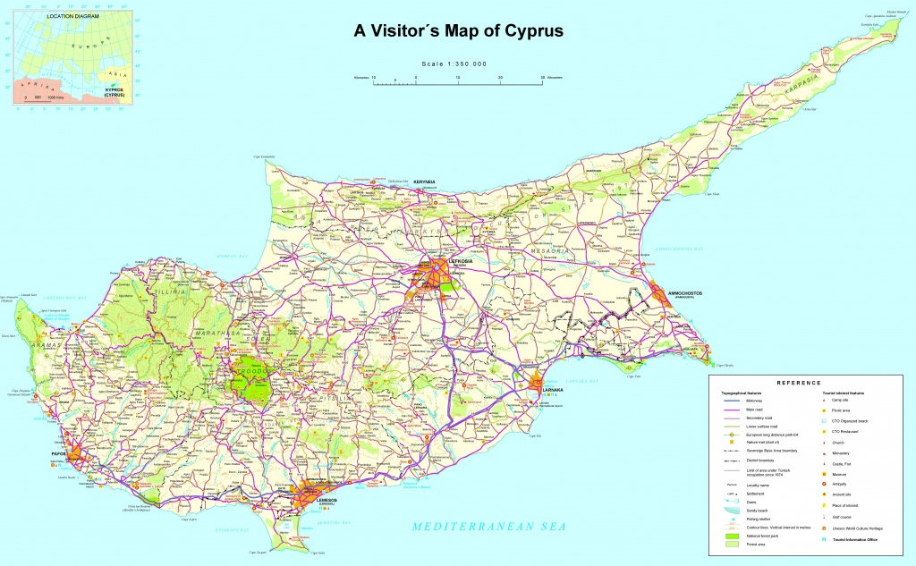 Large Detailed Tourist Map Of Cyprus - Printable Map Of Cyprus
