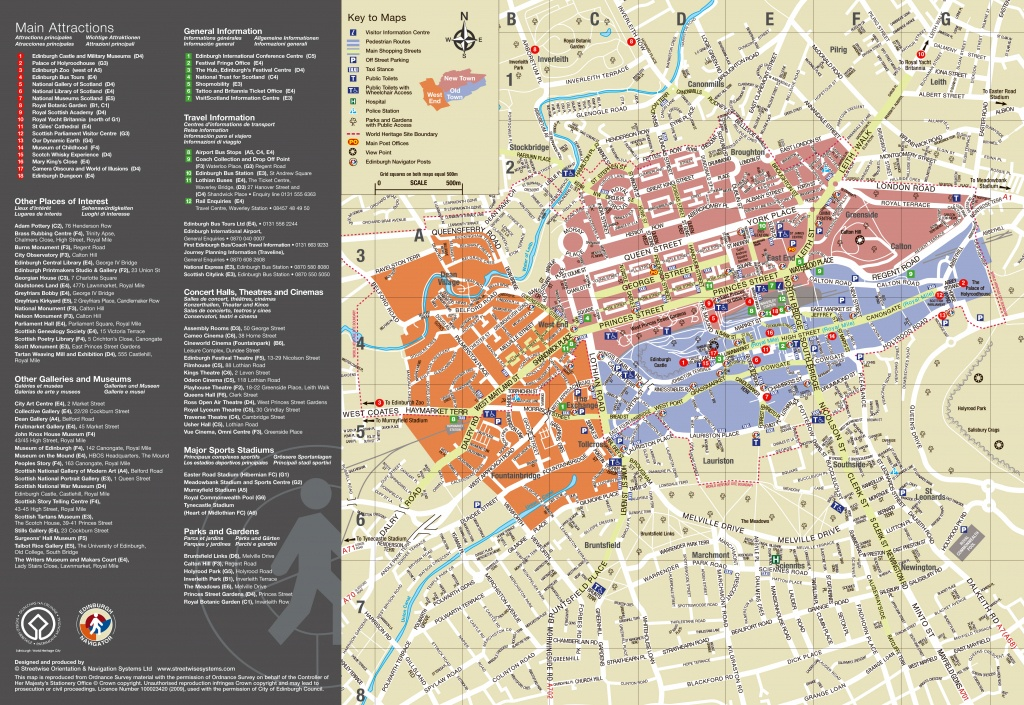 Large Detailed Tourist Map Of Edinburgh City. Edinburgh City Large - Edinburgh City Map Printable