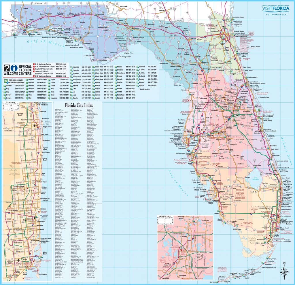 Large Detailed Tourist Map Of Florida - Large Detailed Map Of Florida