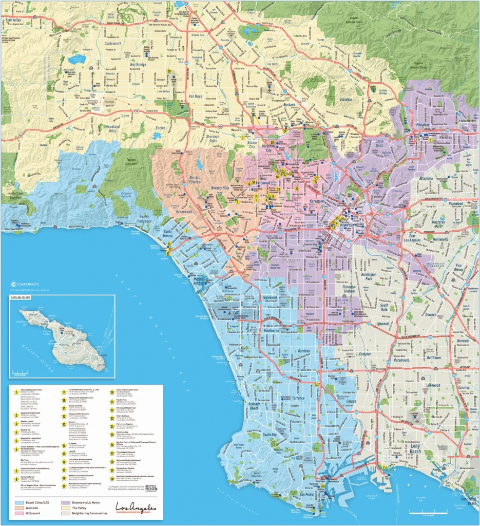 Large Detailed Tourist Map Of Los Angeles - Los Angeles Zip Code Map Printable
