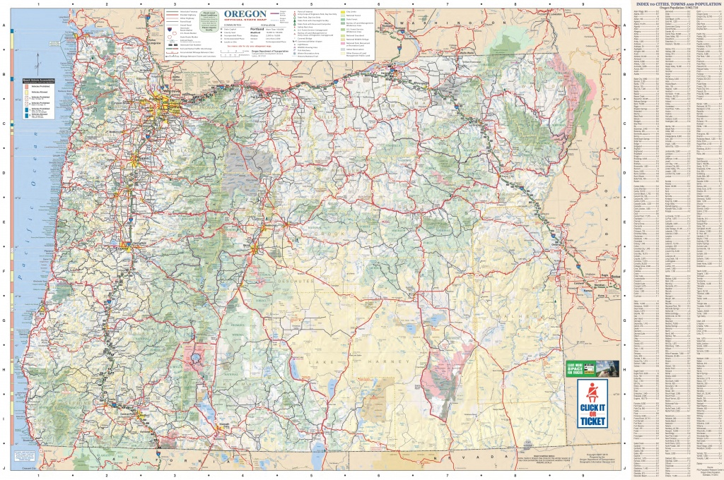 Large Detailed Tourist Map Of Oregon With Cities And Towns - Printable Map Of Oregon