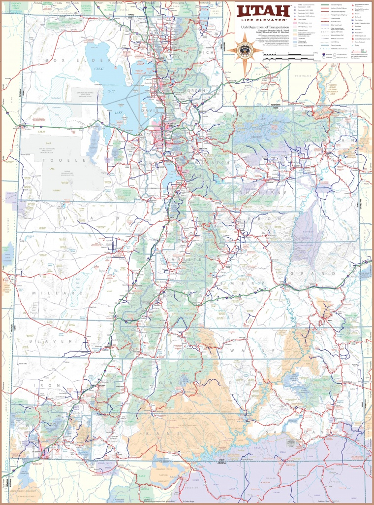 Large Detailed Tourist Map Of Utah With Cities And Towns - Printable Map Of Utah