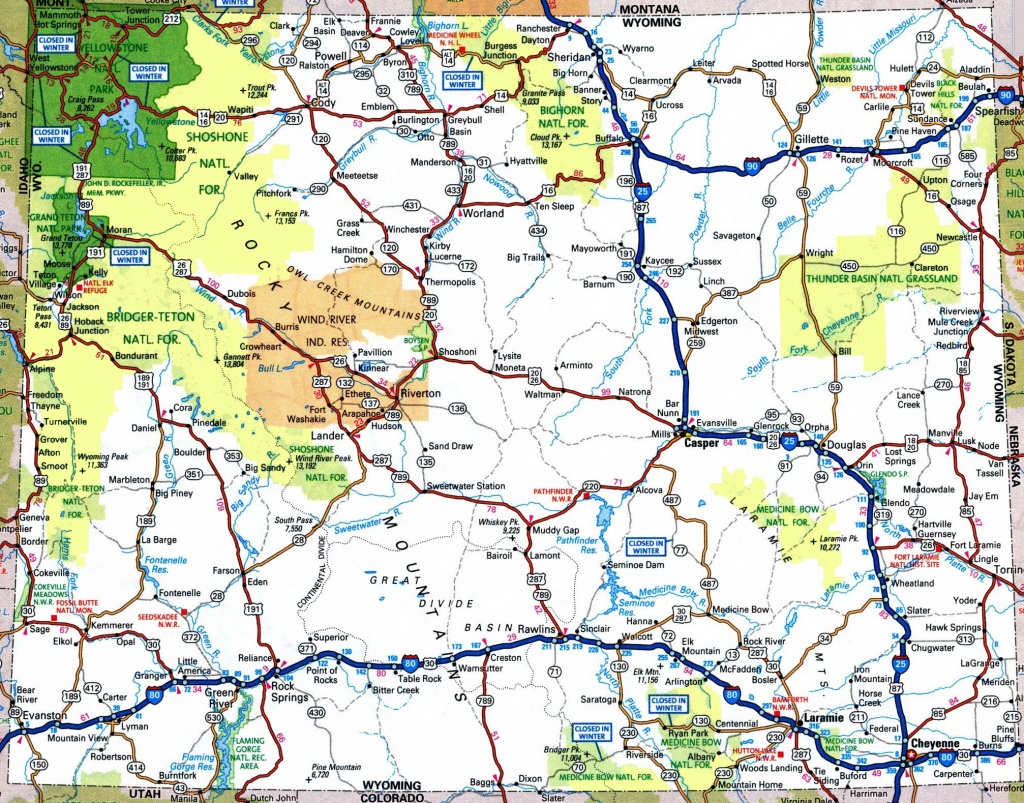 Large Detailed Tourist Map Of Wyoming With Cities And Towns - Printable Map Of Wyoming