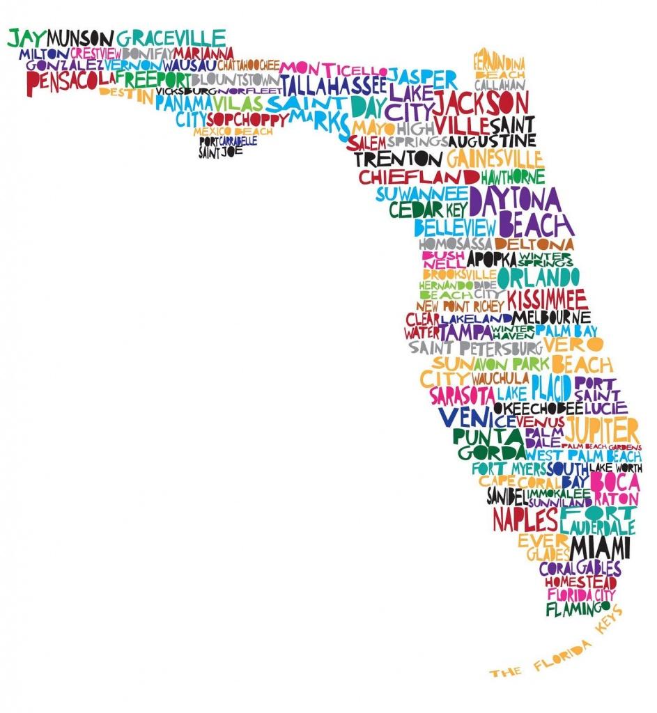 Large Florida Digital Illustration Print Of Florida With Cities - Florida Map Art