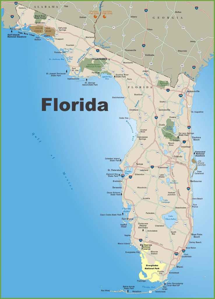 Large Florida Maps For Free Download And Print | High-Resolution And - Map Of Florida Beaches Gulf Side