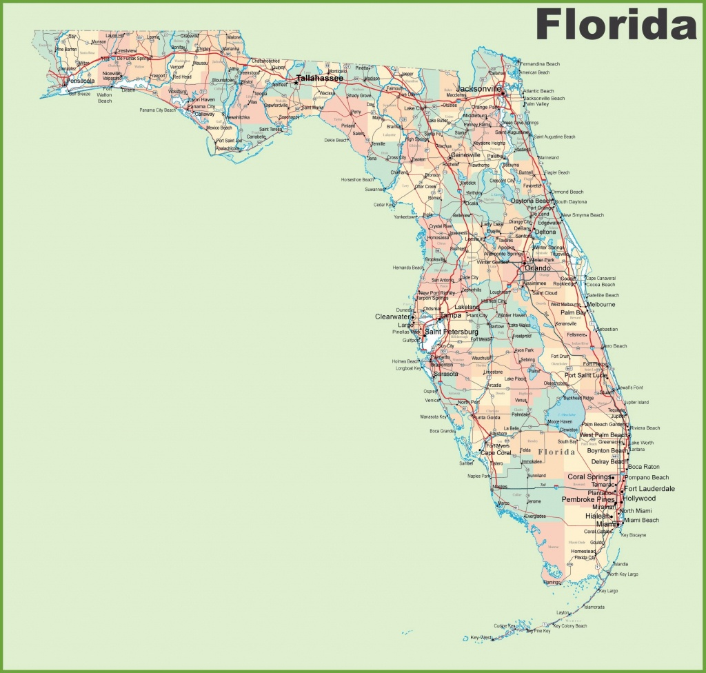 Large Florida Maps For Free Download And Print   High-Resolution And - Map Of Florida Cities And Beaches