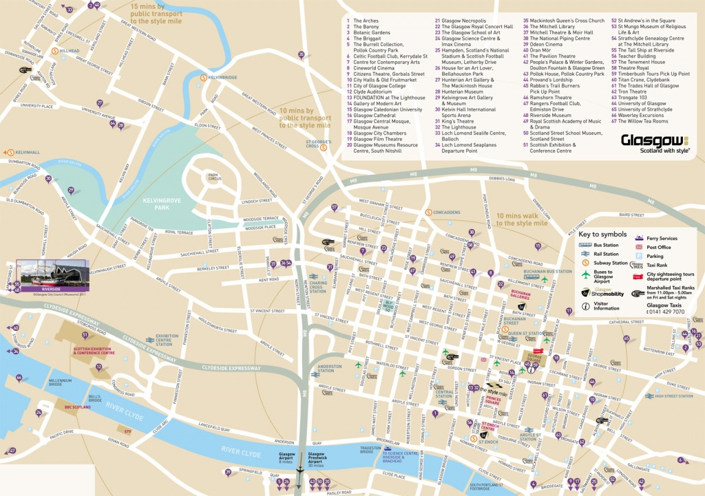 Large Glasgow Maps For Free Download And Print   High-Resolution And - Glasgow City Map Printable