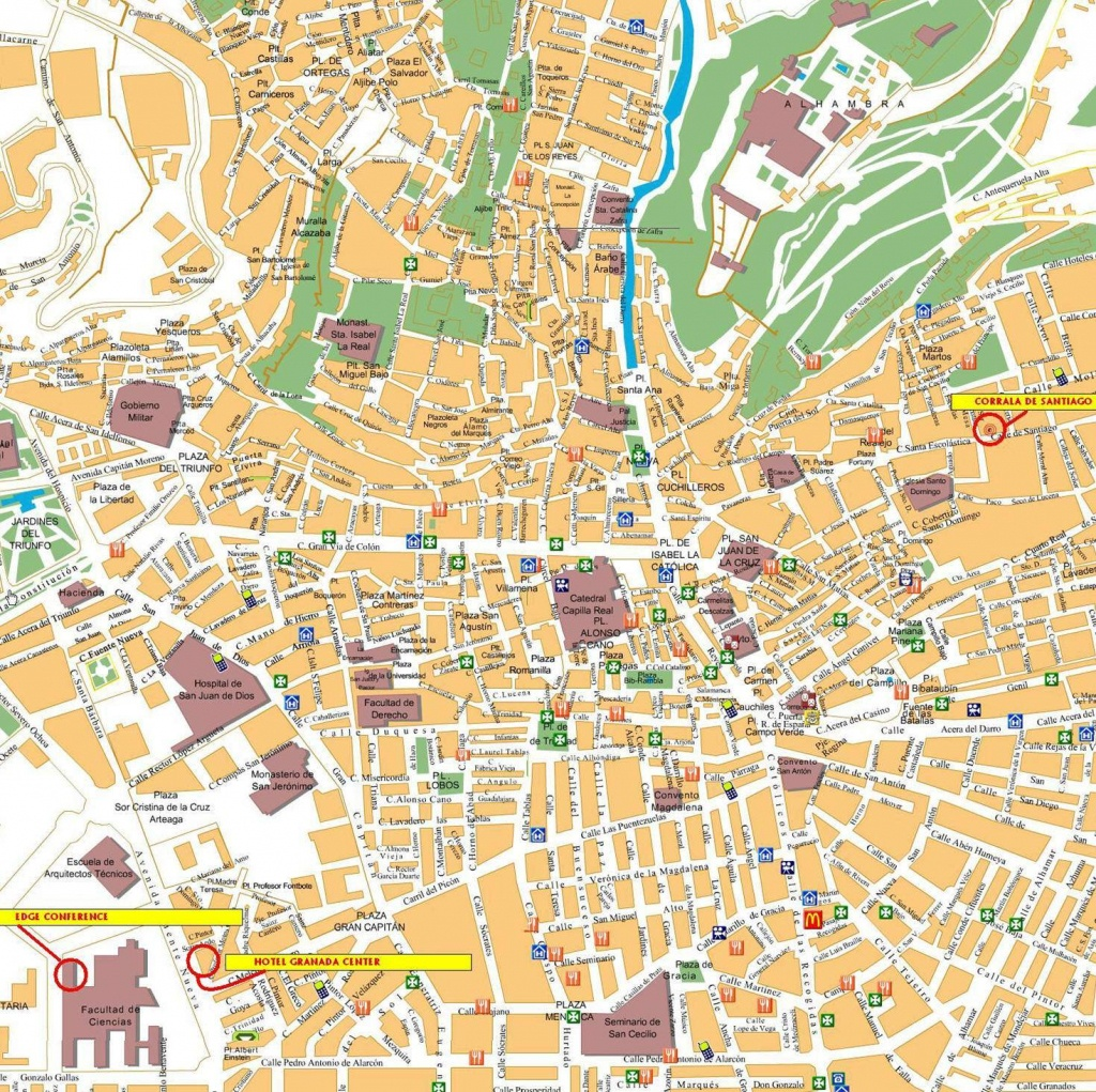 Large Granada Maps For Free Download And Print | High-Resolution And - Printable Street Map Of Granada Spain