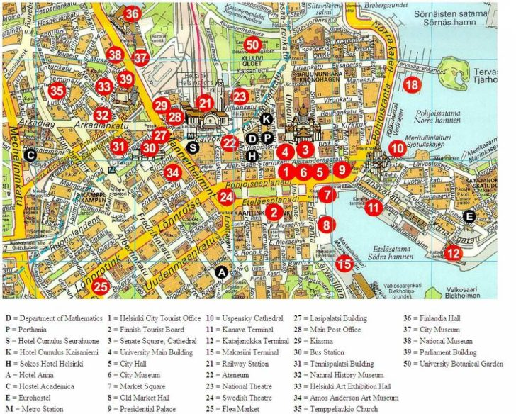 Helsinki City Map Printable