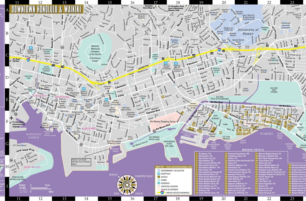Large Honolulu Maps For Free Download And Print   High-Resolution - Printable Map Of Waikiki