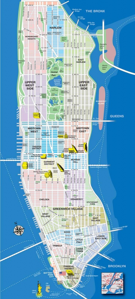 Large Manhattan Maps For Free Download And Print | High-Resolution - Manhattan Map With Attractions Printable