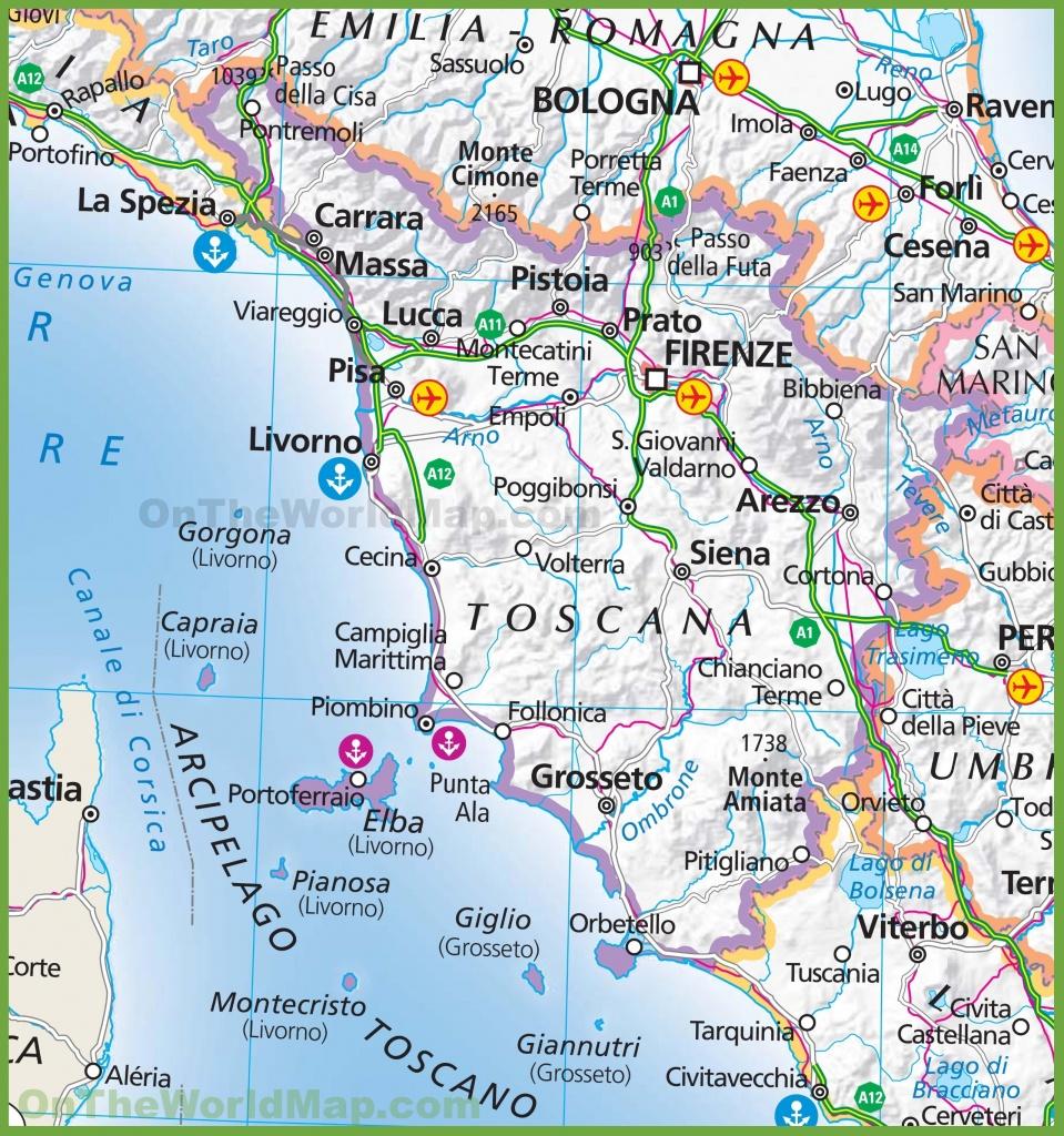 Large Map Of Tuscany - Printable Map Of Tuscany