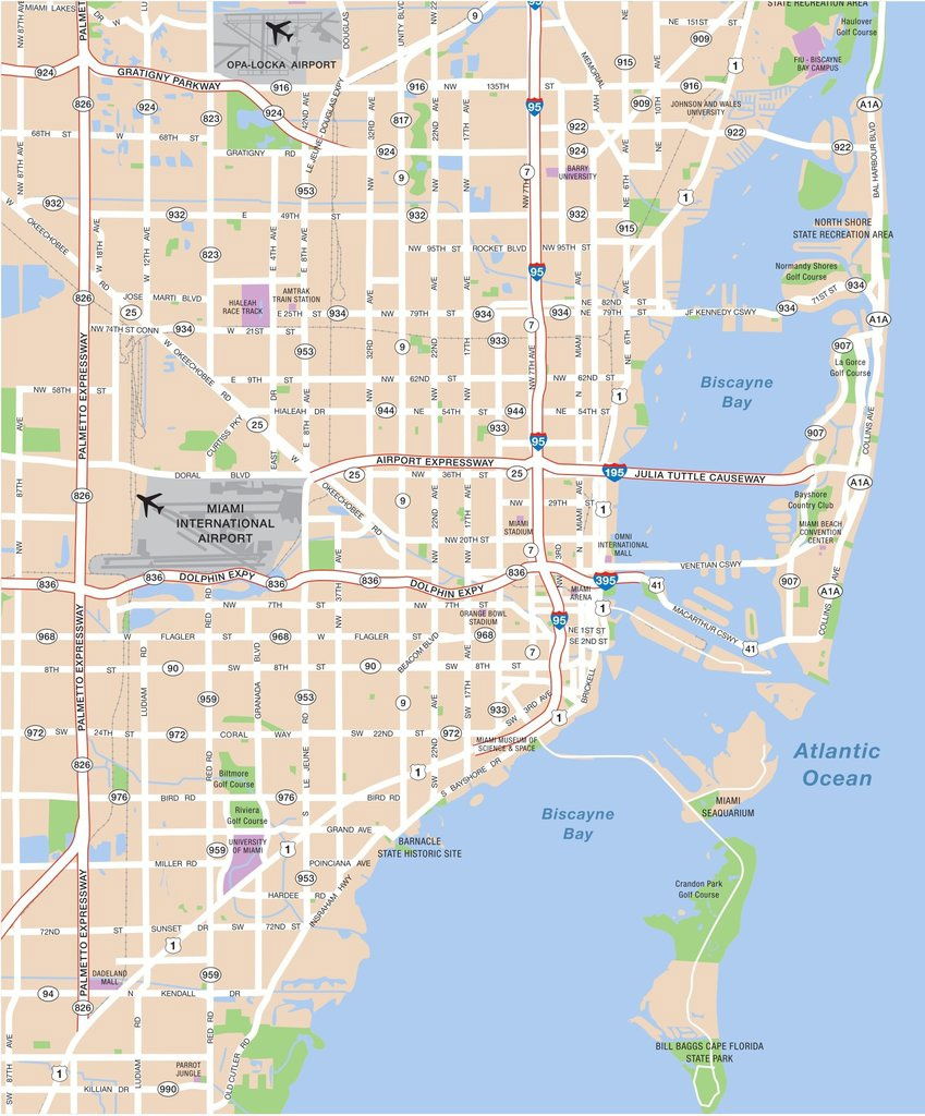 Large Miami Maps For Free Download And Print   High-Resolution And - Street Map Of Downtown Miami Florida