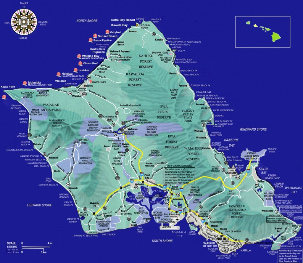 Large Oahu Island Maps For Free Download And Print | High-Resolution - Oahu Map Printable