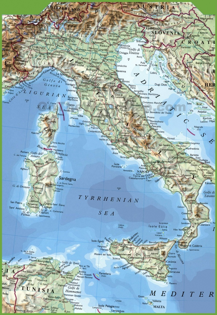 Large Physical Map Of Italy - Large Map Of Italy Printable