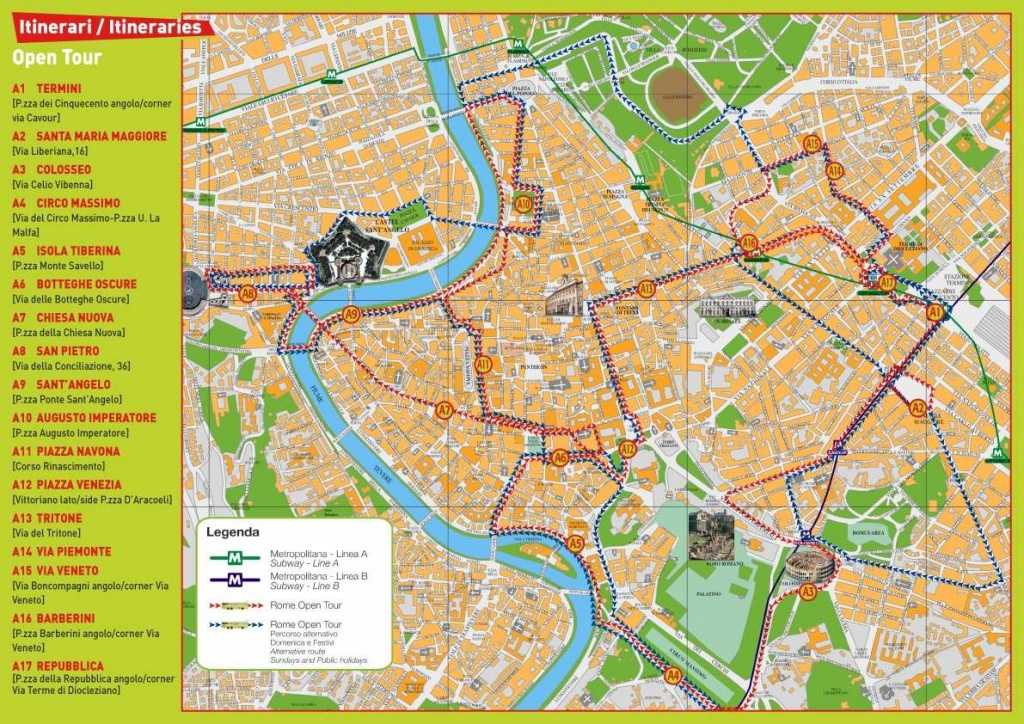Large Rome Maps For Free Download And Print | High-Resolution And - Rome Sightseeing Map Printable