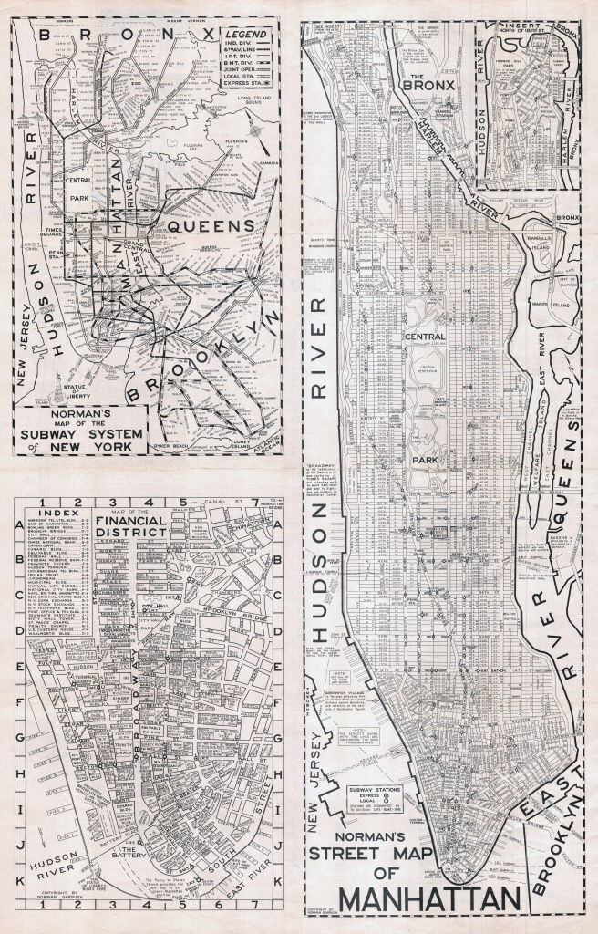 Large Scaled Printable Old Street Map Of Manhattan, New York City - Printable City Maps