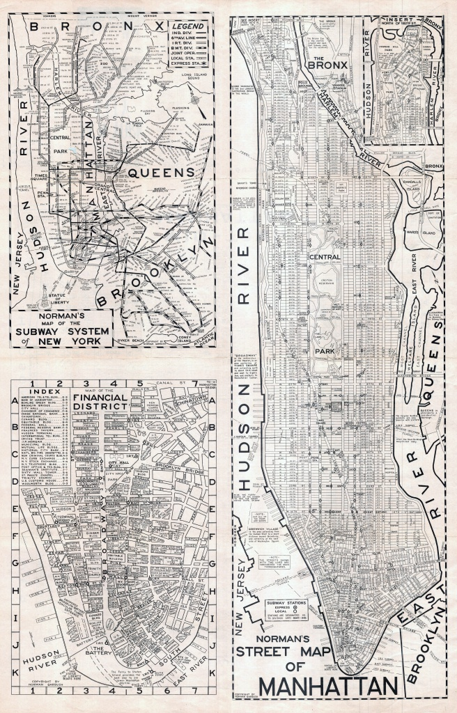 Large Scaled Printable Old Street Map Of Manhattan, New York City - Printable City Street Maps