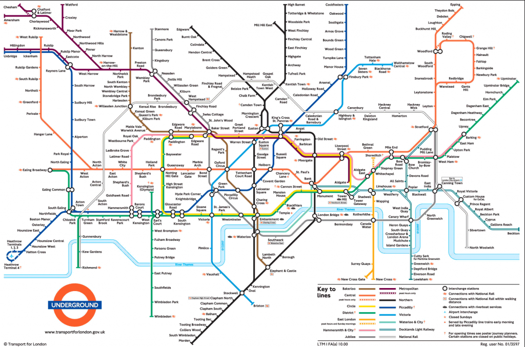 Large View Of The Standard London Underground Map - This Is Exactly - Printable London Tube Map