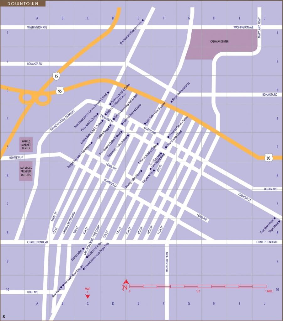 Las Vegas Downtown And Fremont Street Map - Printable Map Of Downtown Las Vegas
